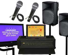 Karaoke sound system rentals, including monitors, speakers, microphones and mixer.