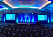 Ballroom lit up for corporate conference at Hyatt Regency San Francisco Airport.