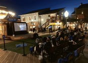 movie being shown outdoors at Pier 39 Outdoor Movie Event.
