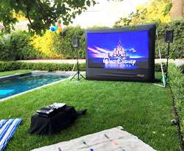 inflatable movie screen setup in a backyard in pasadena