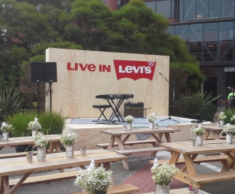 outdoor AV setup for Levi's Employee Day